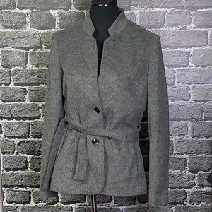 JOHNSTON & MURPHY Charcoal Wool Blend Pea Coat L